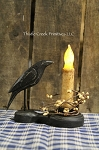 Primitive Wood Crow with Battery Timer Candle Set