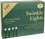 140 Count Teeny Rice Twinkle Light Strand - Clear Lights - GREEN CORD