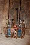 Reproduction Cream Delivery Carrier with 2 Half Pint Bottles