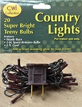 20 Count Teeny Bulbs Country Lights - Clear Bulbs - Brown Cord