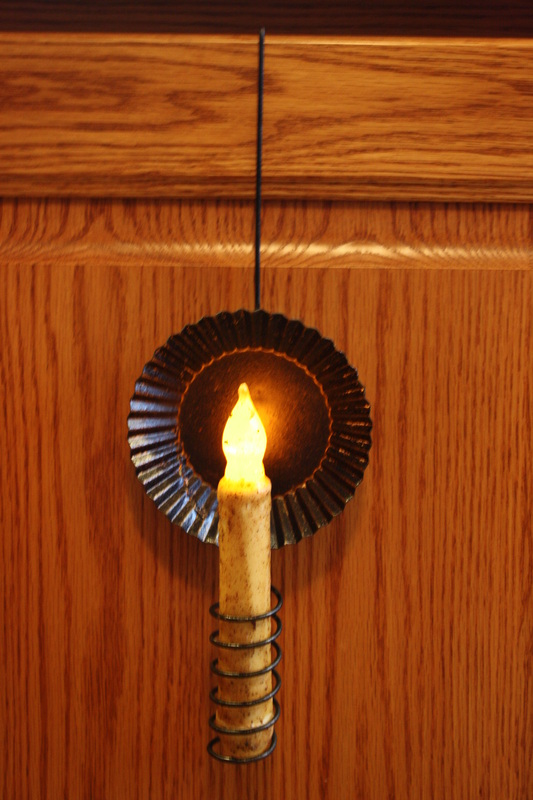 Cupboard Tin Pan Candle Holder W Led Battery Timer Candle