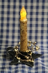 Small Black Star Tin Taper Candle Holder w/ 6
