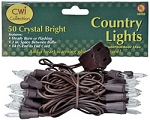 50 Ct. Clear Lights with Brown Wire