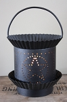 Rustic Punched Tin Star Wax Warmer - BLACK