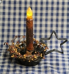 Black Tin STAR Candle Holder w/ 6