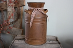 Rusty Tin Milk Can with Homespun