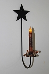 Star Loop Sconce Wrought Iron w/ LED Battery TIMER Candle and Pip Berry Ring