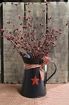 Black Tin Pitcher with Star and Pip Berries