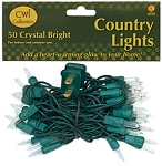 50 Ct. Clear Lights with Green Wire