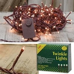 140 Count Teeny Rice Twinkle Light Strand - Clear Lights - BROWN CORD