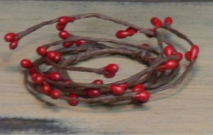 "1.5"" Red Pip Berries Candle Ring"