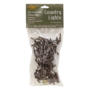 35 Count Teeny Rice Lights - Clear bulbs with Brown Cord
