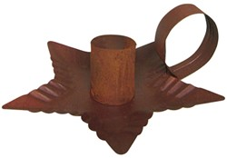 Rust Star Tin Taper Candle Holder - Small